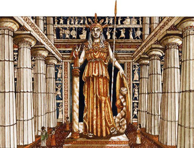 Reconstrucción del Partenón con la estatua de la diosa Palas Atenea