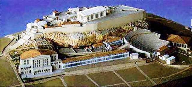 Acrópolis ateniense: vista lateral