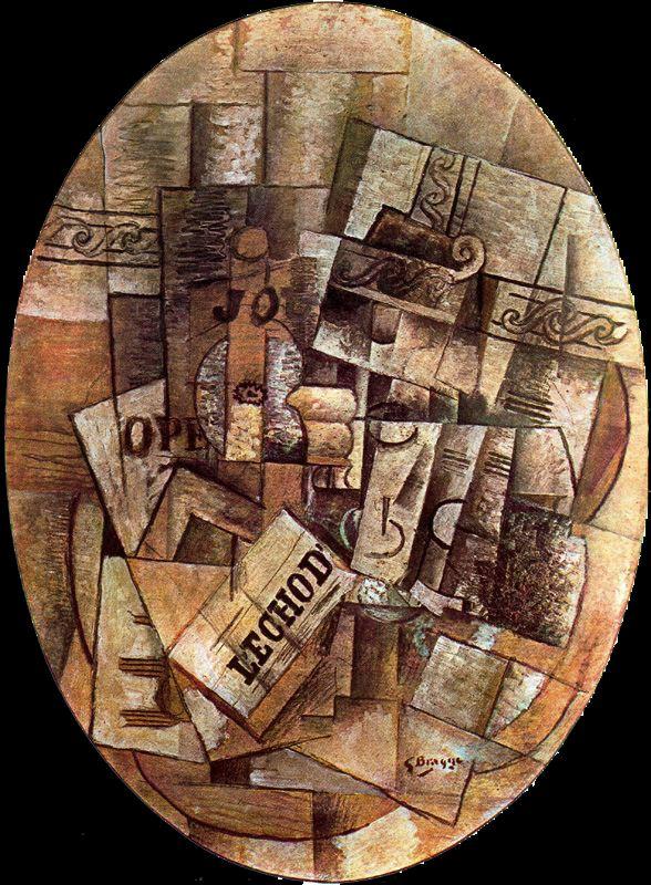 G. Branque: Bodegón con vaso y periódico. El velador (1913)