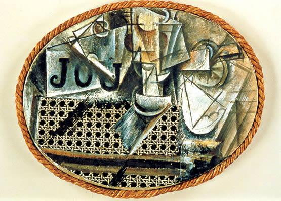 Pablo Picasso: Naturaleza muerta sobre silla de rejilla (1912) (Collage)
