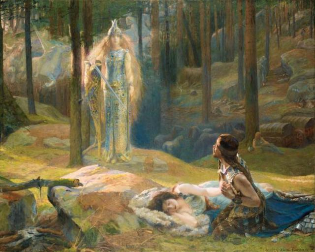 Brunhilda anuncia la muerte a Sigmundo. Óleo de Gaston Bussière