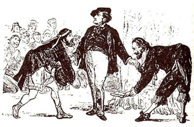 Esquilo y Shakespeare rinden pleitesía a Wagner. Caricatura aparecida en Ulk (1876).