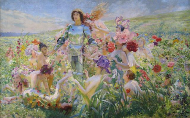 Parsifal en el jardín mágico de Klingsor, Le Chevalier aux Fleurs de Georges Rochegrosse (1894, Musée d'Orsay, París).