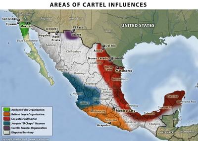 Mapa de México: Distribución de carteles de la droga